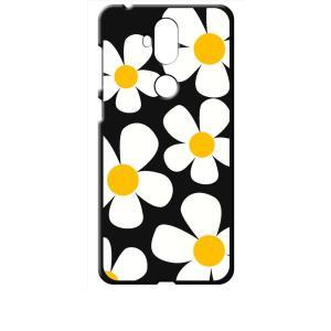 ZenFone5Q ZC600KL ASUS ブラック ハードケース デイジー 花柄 レトロ フラワー|ss-link