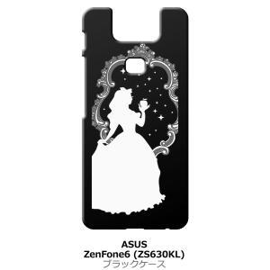 Zenfone6 ZS630KL Asus ゼンフォン6 ブラック ハードケース 白雪姫 リンゴ キラキラ プリンセス|ss-link