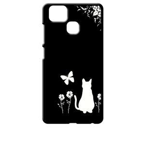 ZenFone Zoom S ZE553KL (ZenFone 3 Zoom) ブラック ハードケース 猫 ネコ 花柄 a026|ss-link
