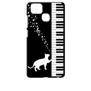ZenFone Zoom S ZE553KL (ZenFone 3 Zoom) ブラック ハードケース ピアノと白猫 ネコ 音符 ミュージック キラキラ|ss-link