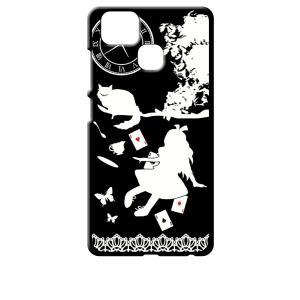 ZenFone Zoom S ZE553KL (ZenFone 3 Zoom) ブラック ハードケース Alice in wonderland アリス 猫 トランプ|ss-link