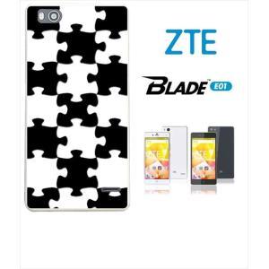Blade E01 ホワイトハードケース カバー ジャケット パズル チェック a007-sslink|ss-link