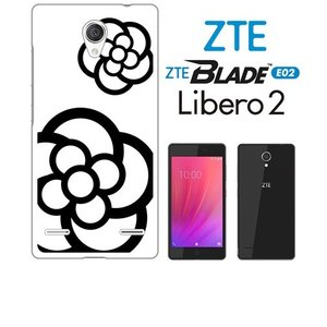 BLADE E02/Libero 2 ZTE ホワイトハードケース ジャケット カメリア-A 花柄 カメリア ss-link