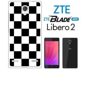 BLADE E02/Libero 2 ZTE ホワイトハードケース ジャケット 市松-ブラック 市松 ブロックチェック ss-link