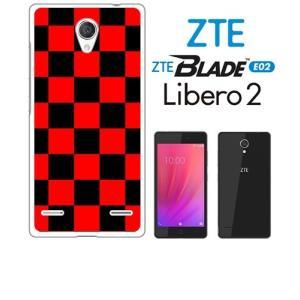 BLADE E02/Libero 2 ZTE ホワイトハードケース ジャケット 市松-ブラックレッド 市松 ブロックチェック ss-link