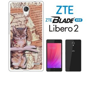 BLADE E02/Libero 2 ZTE ホワイトハードケース カバー ジャケット ca786-1 キャット 猫 ネコ 楽譜 ニュースペーパー|ss-link