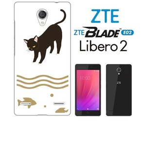 BLADE E02/Libero 2 ZTE ホワイトハードケース カバー ジャケット アニマル 猫 ネコ キャット 魚 川 t049-sslink|ss-link