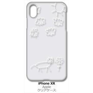 iPhone XR Apple アイフォン iPhoneXR クリア ハードケース 猫 ネコ 落書き 花 (ホワイト) カバー ジャケット スマートフォン スマホケース|ss-link