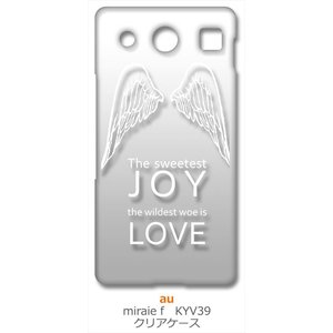 KYV39 miraie f 京セラ au クリア ハードケース JOY LOVE 羽 ロゴ (ホワイト) カバー ジャケット スマートフォン スマホケース|ss-link