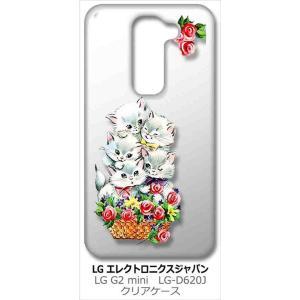 LG G2 mini (LG-D620J) LGエレクトロニクス クリア ハードケース 猫と花かご レトロ バラ フラワー カバー カスタム ジャケット|ss-link