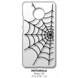 Moto G5 モトローラ クリア ハードケース スパイダー 蜘蛛の巣 クモ ブラック スマホ ケース スマートフォン カバー|ss-link
