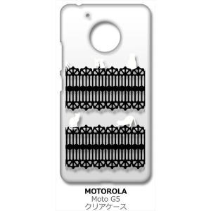 Moto G5 モトローラ クリア ハードケース 猫 ねこ ネコ おさんぽ 白猫ブラックレース スマホ ケース スマートフォン|ss-link
