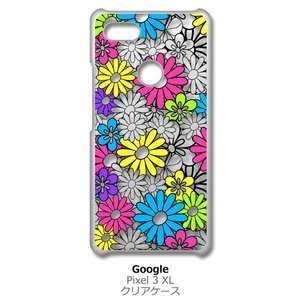 Pixel3XL Google Pixel 3 XL ピクセル クリア ハードケース 花柄アウトライン(ブラック/マルチ) フラワー カラフル スマホ ケース スマ|ss-link