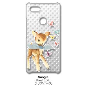 Pixel3XL Google Pixel 3 XL ピクセル クリア ハードケース バンビと蝶 レトロ ドット 小鹿 スマホ ケース スマートフォン カバー カス|ss-link