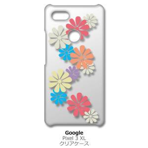 Pixel3XL Google Pixel 3 XL ピクセル クリア ハードケース 花柄(マルチ) 和柄 アジアン カラフル スマホ ケース スマートフォン カバ ss-link