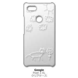 Pixel3XL Google Pixel 3 XL ピクセル クリア ハードケース 猫 ネコ 落書き 花 (ホワイト) カバー ジャケット スマートフォン スマホケース ss-link