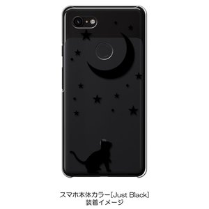Pixel3XL Google Pixel 3 XL ピクセル クリア ハードケース 猫 ネコ 月 星 夜空 ブラック スマホ ケース スマートフォン カバー カスタ ss-link 02