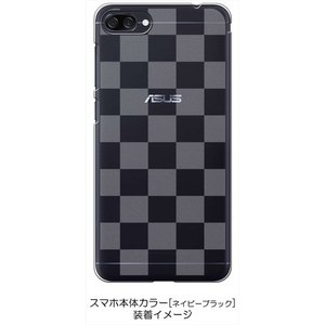 ZenFone4Max ZC520KL ゼンフォン4 ケース クリア 透かし加工 ブロックチェック 市松 ハードケース カバー ジャケット スマートフォ|ss-link