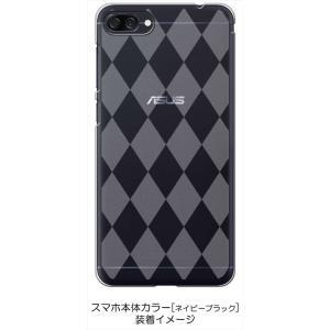 ZenFone4Max ZC520KL ゼンフォン4 ケース クリア 透かし加工 アーガイル ダイヤ柄 ハードケース カバー ジャケット スマートフォン|ss-link