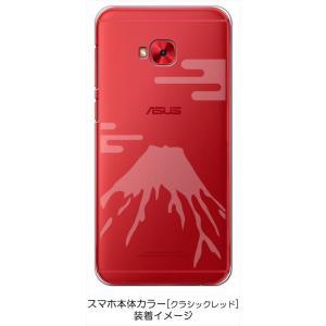 ZenFone4 Selfie Pro ZD552KL ASUS ケース クリア 透かし加工 富士山 霞柄 和柄 ハードケース カバー ジャケット スマートフォン ス|ss-link