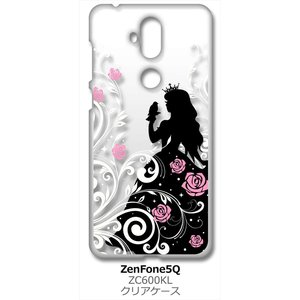 ZenFone5Q ZC600KL ASUS クリア ハードケース 眠れる森の美女 キラキラ 花柄 バラ プリンセス アイフォン カバー ジャケ ss-link