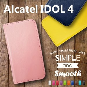 IDOL4 Alcatel 手帳型 スマホ ケース 無地 ベルトなし ダイアリータイプ 横開き カード収納 ストラップホール スタンド機能|ss-link