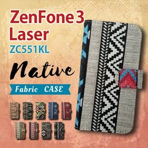 ZenFone3 Laser ZC551KL ASUS 手帳型 スマホ ケース カバー ネイティブ柄 エスニック ファブリック 横開き|ss-link