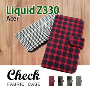 Acer Liquid Z330 楽天モバイル  手帳型 ケース 生地 布 チェック柄 千鳥柄 ファブリック PUレザー カード収納 ss-link