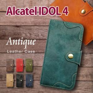 IDOL4 Alcatel 手帳型 スマホ ケース アンティーク調 ヴィンテージ ビンテージ PUレザー カード収納|ss-link