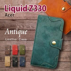 Acer Liquid Z330 楽天モバイル  手帳型 スマホ ケース アンティーク調 ヴィンテージ ビンテージ PUレザー カード収納 ss-link