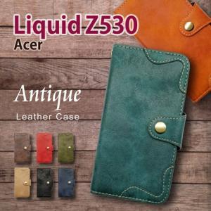 Acer Liquid Z530 SIMフリー  手帳型 スマホ ケース アンティーク調 ヴィンテージ ビンテージ PUレザー カード収納 ss-link