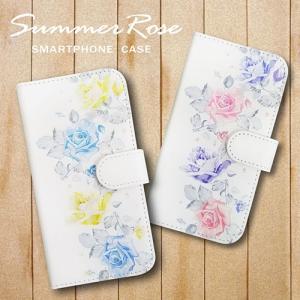 LG K50 softbank おしゃれな花柄デザインのスマホケース ケース 手帳型 バラ ローズ 夏 サマー レトロ風|ss-link