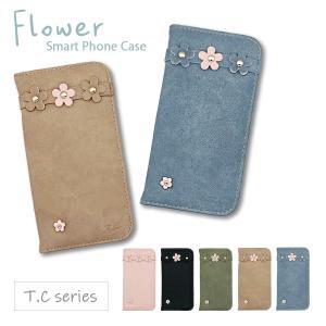 iPhone11 アイフォン11 手帳型 ケース ベルトなし レザー 花 花柄 キャンバス風型押し おしゃれ かわいい T.C|ss-link