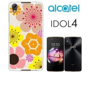 IDOL4 Alcatel ホワイトハードケース カバー ジャケット 花柄 キャロライン風 マリメッ...