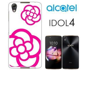 IDOL4 Alcatel ホワイトハードケース ジャケット カメリア-B 花柄 カメリア