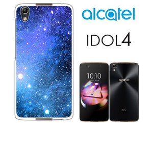 IDOL4 Alcatel ホワイトハードケース カバー ジャケット ca1295-2 コスモ 宇宙 銀河 星|ss-link