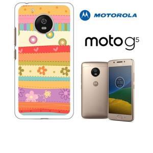 Moto G5 モトローラ ホワイトハードケース カバー ジャケット ca620 花柄 レトロ ポップ ボーダー フラワー|ss-link