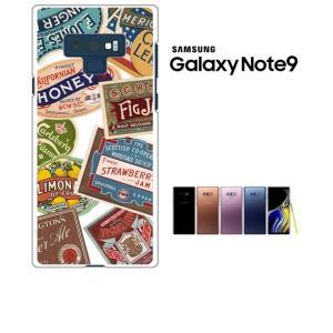 Galaxy Note9 SC-01L/SCV40 ギャラクシーノート9 ホワイトハードケース ジャケット ラベル-A レトロ ラベル ss-link