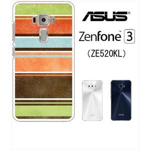 ZenFone3 ZE520KL asus ホワイトハードケース ジャケット マルチボーダーA 擦れ マルチボーダー レトロ|ss-link