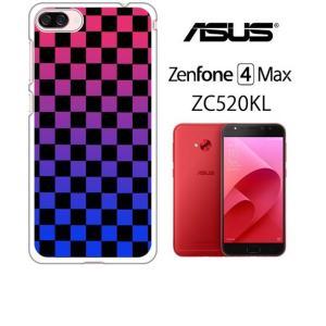 ZenFone4Max ZC520KL ゼンフォン4 ホワイトハードケース カバー ジャケット ca1055-1 ブロックチェック グラデーション ss-link