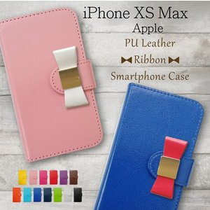 iPhone XS Max Apple docomo au softbank 手帳型 スマホケース リボン デコ アクセ 手帳型ケース カバー 合皮 PUレザー ケース ダイアリータイプ カバー|ss-link