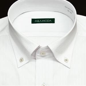 ワイシャツ メンズ 長袖 ボタンダウン スリム 形態安定 S M L LL 3L 白ドビー 白 ドレスシャツ Yシャツ ビジネスシャツ 送料無料 MILA MODA|ss1946|03