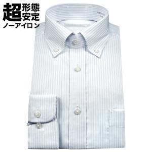 ワイシャツ メンズ 長袖 超形態安定 ボタンダウン ブルース...