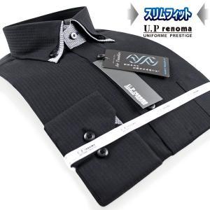 U.P renoma | メンズワイシャツ・形態安定・スリムフィット・チェックドビー・ボタンダウン・ブラックシャツ|ss1946