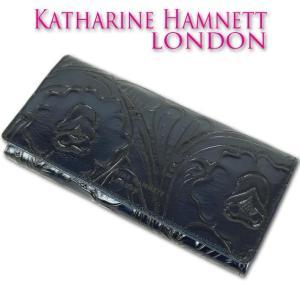 4328b1ab47f4 キャサリンハムネット KATHARINE HAMNETT LONDON 牛革 クラフト 長財布 レディース ネイビー 紺 母の日