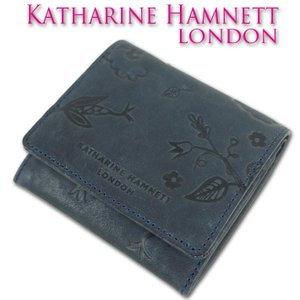 b704ce50e37e キャサリンハムネット KATHARINE HAMNETT LONDON 牛革 ウォッシュ 二つ折り財布 レディース ネイビー 紺 母の日