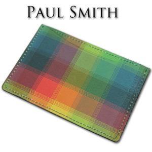 ポールスミス Paul Smith スクエアチェック 牛革 パスケース 定期入れ メンズ レディース...
