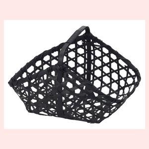 『竹』四角タイプ小物入れ(片手持ち/黒)「25×15×13cm」3Pセット sshana