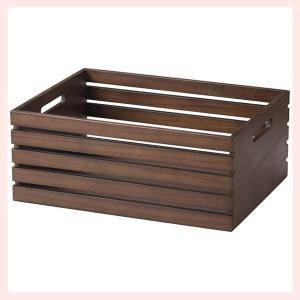 『チェリーウッド』四角タイプボックス「40×30×16cm」/ダークブラウン|sshana