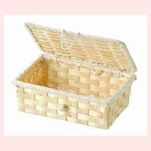 『竹』蓋付き四角タイプ小物入れ「15×9.5×5.5cm」10Pセット/ナチュラル|sshana